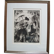 Fiesta Parasol Original Signed Etching 1969 by Gene Kloss - Limited Edition