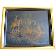 """Native American Framed Night Scene Oil Painting """"Signal Fire"""" by Marylee Moreland"""