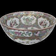 Large Vintage Porcelain Rose Medallion Chinese Fruit Bowl