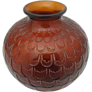 Lalique France Amber Grenade Art Glass Vase c1930