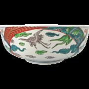 Antique Japanese Heron Painted Porcelain IMARI Bowl c1900
