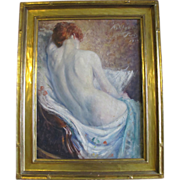 Original Signed Frank Ashford Clifford Nude Female Portrait Oil Painting c1914