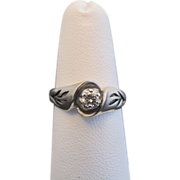 Incredibly Sweet 14k White Gold Diamond Ring with Leaf Cut-Out