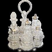 James Deakin & Sons Silver Plate and Crystal Vintage 7pc Cruet Bottle Set