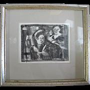 riginal Framed Drawing of 2 Female Figures by OREGON Artist Charles HEANEY