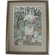 Original Oil Painting by Oregon Artist Martina Gangle Curl of MOTHER & CHILD