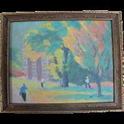 Charles Reynolds Original Oil Painting Autumn on Portland Oregon Campus