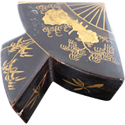 Unique Black Lacquer Wood Asian Fan Shaped Miniature Box with Gold Intricate Detail
