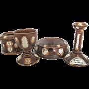Unique 4pc Ceramic Antique Ashtray Humidor Wine Glass & Candlestick Set for Father