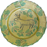 SALE Bright Yellow 19th Century Spanish Montiel Family Earthenware Bowl with Deer in Forest Sc