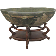 Chinese Han Dynasty 25-220 AD Era Glazed Green Two Eared Earthenware Cup