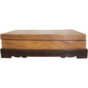Rare & Beautiful Chinese HUANGHUALI Rosewood Lidded Wood Box w/Stand