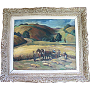 ORIGINAL Fine Landscape Oil Painting by Artist Andre Provot of French Riviera Harvest