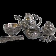 SOLD Japanese Meiji Era Finely Detailed Sterling Silver 7pc Dragon Motif Tea Set