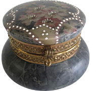 Antique Glass KELVA CF Monroe Wave Crest Enameled Powder Dresser Vanity Box
