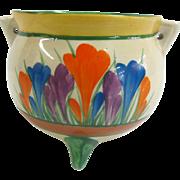 Clarice Cliff England Crocus Hand Painted Bizarre Cauldron Pot Jar