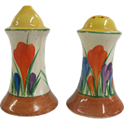 Vibrant Painted AUTUMN CROCUS Flower Clarice Cliff BIZARRE Salt & Pepper Shakers
