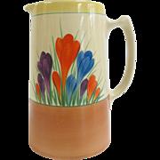 Brightly Hand Painted CROCUS Flower Clarice Cliff BIZARRE Coffee Tea Pot Pitcher