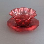 Stevens & Williams art glass finger bowl and plate, cranberry red