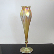 Tall L.C. Tiffany 1912 Gold Iridescent Favrile Floriform Vase