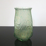 Gorgeous Loetz Oceanik Green Iridescent Art Glass Vase c1905