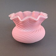 Sandwich Peachblow Swirl Low Vase
