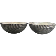 Set of 2 Italian Sterling Silver Bowls w/Heavily Textured Swirl Pattern