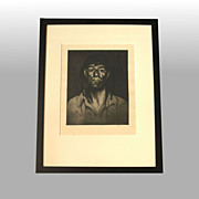 """John M. Kelly """"Hawaiian Soldier No. 5"""" Signed, framed drypoint etching"""