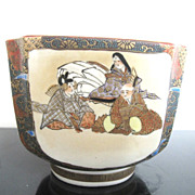 SALE Satsuma Hand Painted Meiji Era Kutani Square Bowl