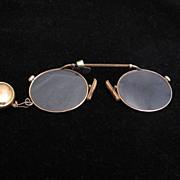 Antique 12k Gold Pince Nez Spring Bar Eyeglasses