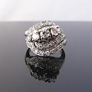 SALE Old European Cut Diamond 14k Gold Vintage Wedding Engagement Ring Set