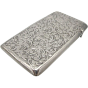 SALE Lovely Sterling Silver Victorian Embossed Card Case