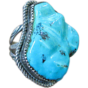 SALE Sterling Silver Native American Vintage Ring w/Large Turquoise Stone