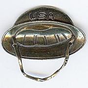 Patriotic Sweetheart Brooch/Pin World War II Doughboy Helmet  -1940s