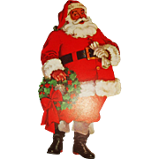 1950's lithographed Santa Claus cardboard cutout Christmas decoration Dennison Company  1950's lithographed Santa Claus cardboard cutout Christmas decoration Dennison Company