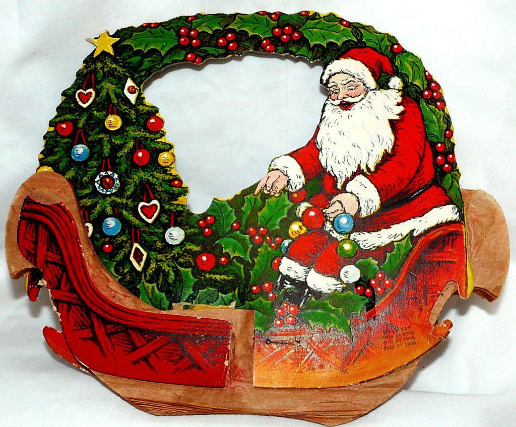 Beistle Honeycomb Santa in Sleigh Christmas Basket – 1920s Nice!