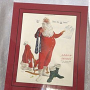 REDUCED Santa Claus Arrow Shirts 1952 Christmas Advertisement matted ready to frame!