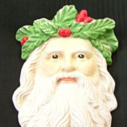 Vintage Bisque Santa Head Christmas Decoration