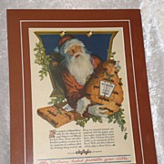 REDUCED Santa Claus Wilson Certified Ham early Christmas Advertisement Mounted matted ready to