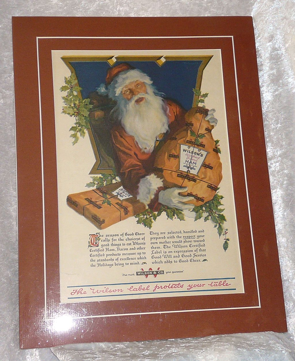 Santa Claus Wilson Certified Ham early Christmas Advertisement Mounted matted ready to frame!