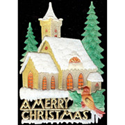 """REDUCED German Snow Covered Church and red Bird """"A Merry Christmas"""" Die Cut"""