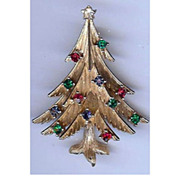 REDUCED Vintage Trifari modernist style Christmas tree brooch