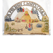 Vintage German die cut A Merry Christmas with Cottage