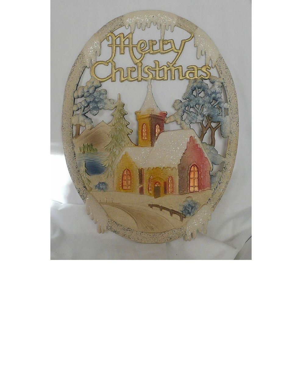 Vintage German die cut Village Church scene Merry Christmas Banner