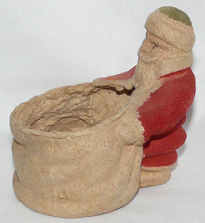 Vintage Paper mache Santa Claus Candy container