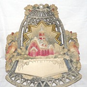 Old Die-Cut Bell Christmas card Holder Mica/glitter – Germany 1930s Excellent