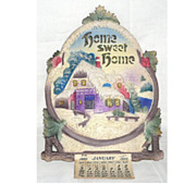 """SALE Old Die-Cut Christmas Calendar """"Home sweet Home"""" – Germany 1926 Excellent"""
