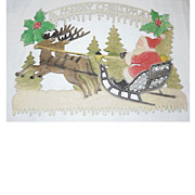 "SALE German die cut Santa on Sleigh with Reindeer ""A Merry Christmas"""
