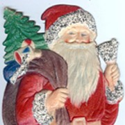 REDUCED Medium Standing Santa with a Bell Nostalgic Christmas Embossed die-cut ~ 1930's from G