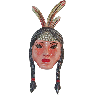 "REDUCED CORO enameled ""Indian Princess"" dress clip Adolph Katz 1942 Excellent!"